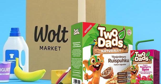 TwoDads® products in front of Wolt Market bag