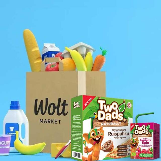 a cartoon image Wolt Market grocery bag with TwoDads® products
